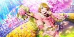 1girl :d artist_request boots bow bowtie brown_hair cherry_blossoms day double-breasted falling_petals floral_print flower grass green_bow greenhouse hair_flower hair_ornament high_heel_boots high_heels highres holding holding_flower holding_scepter koizumi_hanayo light_rays long_sleeves love_live! love_live!_school_idol_festival_all_stars love_live!_school_idol_project official_art one_eye_closed open_mouth outstretched_arm petals rainbow scepter short_hair smile solo standing standing_on_one_leg striped striped_bow sunlight thigh-highs thigh_boots violet_eyes white_footwear wide_sleeves zettai_ryouiki