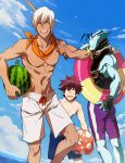 3boys abs ball bare_shoulders blue_shorts blue_skin blue_sky brown_hair closed_eyes clouds collarbone dark_skin day food fruit handkerchief holding holding_ball holding_food holding_innertube housui_(g3hopes) innertube kekkai_sensen leonardo_watch male_focus multiple_boys navel open_mouth orange_neckwear purple_shorts short_hair shorts sky smile standing teeth water watermelon white_hair white_shorts zap_renfro zed_o'_brien