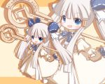 1girl :d bangs beige_background blue_bow blue_eyes blush bow brown_background chibi copyright_request eyebrows_visible_through_hair hair_between_eyes hair_bow holding holding_staff long_hair long_sleeves looking_at_viewer mori_no_kaeru open_mouth pinching_sleeves robe sidelocks silver_hair sleeves_past_wrists smile solo staff standing twintails two-tone_background very_long_hair white_robe wide_sleeves zoom_layer