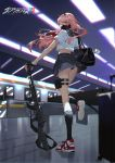 1girl absurdres assault_rifle bag bangs black_panties darling_in_the_franxx fingerless_gloves full_body gas_mask gloves ground_vehicle gun highres holding holding_gun holding_weapon long_hair looking_back mask mechanical_arm midriff necktie panties pantyshot pantyshot_(standing) pink_hair plaid plaid_skirt red_eyes red_horns red_neckwear rifle robot_joints sailor_collar school_uniform shoes short_sleeves skirt sneakers socks solo standing standing_on_one_leg subway subway_station suitcase train underwear weapon zero_two_(darling_in_the_franxx) zhongfeng_lee