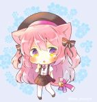 1girl :o animal_ear_fluff animal_ears azur_lane bangs bell beret black_bow black_footwear black_headwear black_skirt blue_background blush bow cat_ears cat_girl cat_tail chibi collared_shirt dress_shirt eyebrows_behind_hair floral_background full_body hair_between_eyes hair_bow hand_up hat jingle_bell kisaragi_(azur_lane) kouu_hiyoyo long_hair looking_at_viewer neck_ribbon pantyhose parted_lips pink_hair pleated_skirt red_bow red_ribbon retrofit_(azur_lane) ribbon shirt skirt solo standing standing_on_one_leg striped striped_bow suspender_skirt suspenders tail tail_bow twitter_username two_side_up very_long_hair white_legwear white_shirt