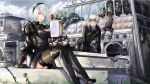 1boy 1girl black_dress black_gloves black_hairband black_legwear blindfold boots breasts choker cleavage_cutout closed_eyes commentary dress eyebrows_visible_through_hair frown gloves hairband juliet_sleeves leotard long_sleeves medium_breasts mole mole_under_mouth nier_(series) nier_automata no_blindfold puffy_sleeves short_hair silver_hair sitting smile takuyarawr thigh-highs white_hair yorha_no._2_type_b yorha_no._9_type_s
