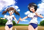 2girls :d absurdres bangs bare_legs baton black_hair bloomers blue_bloomers blue_eyes blue_sky brave_witches brown_eyes brown_hair clenched_hand clouds georgette_lemare grass gym_shirt gym_uniform hair_ribbon highres holding itoi_megumi multiple_girls official_art open_hand open_mouth outdoors ribbon shimohara_sadako shirt sky smile sparkle track track_and_field tree twintails underwear white_shirt world_witches_series