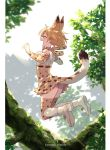1girl animal_ear_fluff animal_ears bare_shoulders bey_(bey01st) blonde_hair bow bowtie branch closed_eyes commentary_request elbow_gloves extra_ears fang gloves high-waist_skirt jumping kemono_friends open_mouth print_gloves print_legwear print_neckwear print_skirt serval_(kemono_friends) serval_ears serval_print serval_tail shirt short_hair skirt sleeveless solo tail thigh-highs tree white_shirt zettai_ryouiki