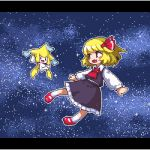 1girl :d bangs black_skirt black_vest blonde_hair blush_stickers collared_shirt commentary_request floating frilled_skirt frills full_body gen_3_pokemon hair_ribbon jirachi kumamoto_(bbtonhk2) legendary_pokemon letterboxed long_sleeves looking_at_another lowres mary_janes open_mouth outstretched_arms pixel_art pokemon pokemon_(creature) puffy_long_sleeves puffy_sleeves red_eyes red_footwear red_ribbon ribbon rumia shirt shoes short_hair skirt skirt_set sky smile space star_(sky) starry_sky touhou vest white_shirt wing_collar