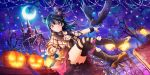 1girl artist_request back_bow bangs bare_tree bird bird_on_hand black_footwear black_legwear blue_hair boots bow capelet castle cravat crescent_moon crow earrings feathers halloween hat heart_tattoo highres holding_lantern jack-o'-lantern jewelry knee_boots lantern long_sleeves looking_at_viewer love_live! love_live!_school_idol_festival_all_stars love_live!_sunshine!! mini_hat mini_top_hat mismatched_legwear moon night official_art one_side_up parted_lips red_eyes striped striped_legwear tattoo thigh-highs top_hat tree tsushima_yoshiko zettai_ryouiki