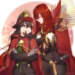 2girls armored_boots black_bodysuit black_scarf bodysuit boots breasts cape cheek_pinching dual_persona family_crest fate/grand_order fate_(series) hair_over_one_eye hat koha-ace large_breasts looking_at_another military_hat multiple_girls oda_nobunaga_(fate) oda_nobunaga_(maou_avenger)_(fate) oda_uri omi_(tyx77pb_r2) peaked_cap pinching red_cape red_eyes redhead scarf