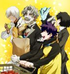 1girl 4boys apple bag black_hair black_neckwear butler chain_sumeragi closed_eyes closed_mouth collar eating food formal fruit gilbert_f._altstein gloves green_apple grey_hair holding holding_bag holding_food housui_(g3hopes) kekkai_sensen leonardo_watch long_sleeves looking_at_another monkey multiple_boys open_mouth purple_hair shopping_cart short_hair smile sonic_(kekkai_sensen) suit suit_jacket white_gloves white_hair yellow_background zap_renfro zed_o'_brien