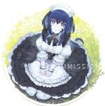 1girl akizone apron bangs black_dress blue_eyes blue_hair breasts commentary commission dress english_commentary final_fantasy final_fantasy_xiv frills from_above gloves highres horns large_breasts looking_at_viewer maid_dress maid_headdress original puffy_sleeves sitting smile solo white_apron white_gloves white_legwear