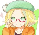 1girl ayunosu bel_(pokemon) blonde_hair closed_mouth commentary_request glasses green_eyes hat jacket looking_at_viewer pokemon pokemon_(game) pokemon_bw2 short_hair smile solo