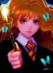 1girl bangs brown_eyes brown_hair bug butterfly closed_mouth gryffindor harry_potter hermione_granger hogwarts_school_uniform holding holding_wand insect long_hair looking_at_viewer magic necktie nyamunekonabe school_uniform signature solo upper_body wand