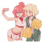 1boy 1girl aina_ardebit blue_eyes cellphone cheerleader green_hair headband jacket lio_fotia midriff navel open_mouth phone pink_hair pom_poms promare short_hair side_ponytail skirt smartphone smile soto taking_picture track_suit violet_eyes