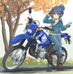 1girl autumn_leaves bangs black_gloves blue_hair blue_jacket blue_pants boots brown_footwear cellphone commentary_request denim denim_jacket eyebrows_visible_through_hair gloves ground_vehicle hair_bun highres holding holding_cellphone holding_phone jacket jeans logo looking_to_the_side mikeran_(mikelan) motor_vehicle motorcycle multicolored multicolored_clothes multicolored_scarf pants partial_commentary phone scarf shading_eyes shima_rin smartphone solo standing standing_on_one_leg striped striped_scarf tree violet_eyes white_background yamaha yurucamp