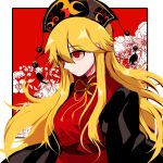 1girl black_dress black_headwear blonde_hair chinese_clothes closed_mouth crescent dress expressionless floating_hair floral_background from_side hat junko_(touhou) long_hair long_sleeves looking_afar mindoll red_background red_eyes ribbon shaded_face shiny shiny_hair sidelocks solo tabard tassel touhou two-tone_background upper_body very_long_hair white_background wide_sleeves yellow_ribbon