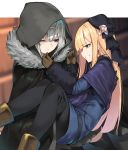 2girls black_gloves black_headwear black_legwear blonde_hair blue_coat blue_eyes boots brown_footwear brown_gloves cape carrying cloak fate_(series) fur-trimmed_cloak fur_trim gloves gray_(lord_el-melloi_ii) green_eyes grey_cape grey_flower grey_hair grey_rose highres hood hood_up hooded_cloak long_hair lord_el-melloi_ii_case_files multiple_girls one_eye_closed pantyhose princess_carry reines_el-melloi_archisorte tilted_headwear yuuuuu