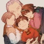 1girl 3boys ^_^ brown_hair child circlet closed_eyes closed_mouth dutch_angle facing_viewer genkaku_(suikoden) gensou_suikoden gensou_suikoden_ii hair_behind_ear hairband happy headband holding_hand hug jowy_atreides-blight laughing long_sleeves maekakekamen multiple_boys nanami_(suikoden) old_man profile riou short_hair silver_hair simple_background smile sweater_vest toggles upper_body