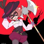 1girl :d ascot axe battle_axe belt black_headwear breasts bright_pupils brooch brown_hair cowboy_shot do_m_kaeru domino_mask glint gloves hand_on_headwear hat_feather holding holding_axe holding_weapon jewelry long_sleeves looking_at_viewer mask okumura_haru open_mouth persona persona_5 pink_shirt puffy_shorts purple_gloves red_eyes shirt short_hair shorts small_breasts smile solo twitter_username weapon white_neckwear white_pupils wing_collar