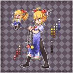 1girl ahoge argyle argyle_background bangs black_footwear black_legwear blonde_hair blunt_bangs blush_stickers chain chibi china_dress chinese_clothes closed_mouth color_guide commentary_request dress flats full_body hands_in_opposite_sleeves horn_ribbon horns ibuki_suika kumamoto_(bbtonhk2) lowres multiple_views oni pantyhose pixel_art ponytail pyramid_(geometry) red_ribbon ribbon short_sleeves side_slit sidelocks smile sparkle sphere standing touhou yellow_eyes