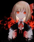 1girl blonde_hair blood bloody_hands censored commentary dark_background darkness hair_ribbon highres kky looking_at_viewer mosaic_censoring neck_ribbon red_eyes red_ribbon ribbon rumia short_hair solo touhou twitter_username upper_body