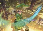 1boy bangs blonde_hair blue_eyes boots commentary_request from_above green_headwear green_shirt hat highres ho-oh_(artist) holding holding_shield holding_sword holding_weapon link long_hair looking_at_viewer master_sword pointy_ears shield shirt solo sword the_legend_of_zelda tree v-shaped_eyebrows weapon