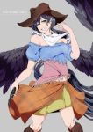 1girl alternate_eye_color bandana bangs bare_shoulders black_hair black_wings blue_eyes blue_shirt boots breasts brown_footwear brown_headwear character_name commentary_request cowboy_hat eyebrows_visible_through_hair feathered_wings feet_out_of_frame grey_background grin gun hair_between_eyes hand_up handgun hat head_tilt holding holding_gun holding_weapon knee_boots kurokoma_saki long_hair looking_at_viewer medium_breasts midriff_peek miniskirt navel off-shoulder_shirt off_shoulder orange_skirt plaid plaid_shirt plaid_skirt potato_pot puffy_short_sleeves puffy_sleeves revolver shirt short_sleeves simple_background skirt smile solo standing touhou unmoving_pattern very_long_hair weapon wings yellow_skirt