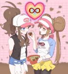 2girls ankea_(a-ramo-do) arms_behind_back back_bow bare_shoulders baseball_cap black_legwear black_vest blue_eyes blue_shorts blush bow box breasts brown_hair candy chocolate chocolate_heart closed_eyes collarbone cowboy_shot double_bun feeding food hand_up happy hat heart heart-shaped_box highres holding infinity long_hair long_sleeves mei_(pokemon) multiple_girls open_mouth pantyhose pink_bow pink_headwear poke_ball_symbol poke_ball_theme pokemon pokemon_(game) pokemon_bw pokemon_bw2 ponytail raglan_sleeves shiny shiny_hair shirt short_shorts shorts sleeveless sleeveless_shirt small_breasts smile standing tied_hair touko_(pokemon) twintails vest visor_cap white_shirt wristband yellow_shorts yuri