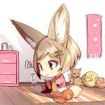 1girl animal_ear_fluff animal_ears bangs big_head brown_eyes chest_of_drawers chibi closed_mouth commentary_request eyebrows_visible_through_hair fox_ears fox_girl fox_tail fringe_trim hair_ornament hairclip heart indoors light_brown_hair original parted_bangs pink_shirt rug shirt short_hair short_sleeves sitting skirt solo stuffed_animal stuffed_bird stuffed_cat stuffed_toy tail wavy_mouth white_skirt wide_sleeves wooden_floor yarn yarn_ball yuuji_(yukimimi)