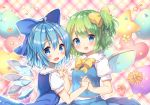 2girls :d balloon bangs blue_dress blue_eyes blue_hair blue_sky blue_vest blush bow breasts brown_flower cirno commentary_request daiyousei dress eyebrows_visible_through_hair fairy_wings fang flower frilled_shirt_collar frills green_hair hair_between_eyes hair_bow heart holding_hands ice ice_wings interlocked_fingers multiple_girls one_side_up open_mouth petals pink_flower pjrmhm_coa plaid plaid_background puffy_short_sleeves puffy_sleeves shirt short_sleeves sky sleeveless sleeveless_shirt small_breasts smile star touhou vest white_shirt wings yellow_bow yellow_flower