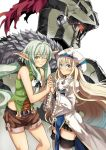 1boy 2girls armor bangs black_bow blonde_hair blue_eyes blush bow breasts commentary_request dress elf eyebrows_visible_through_hair fur_collar garimpeiro glowing glowing_eye goblin_slayer goblin_slayer! green_eyes green_hair hair_between_eyes hair_bow hat helmet high_elf_archer_(goblin_slayer!) highres long_hair long_sleeves looking_at_viewer multiple_girls pointy_ears priestess_(goblin_slayer!) red_eyes shorts sidelocks small_breasts smile thigh-highs very_long_hair