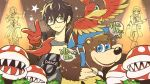 1girl 4boys 4others a-1_pictures amamiya_ren animal atlus backpack bag banjo-kazooie banjo_(banjo-kazooie) banjo_to_kazooie_no_daibouken bear bird bird_studio black_hair blue_eyes blush brown_hair commentary_request cropped_sweater dancing dragon_quest dragon_quest_viii dragon_quest_xi eight_(dragon_quest) feathers flower_pot furonyan glasses gloves green_eyes hat hero_(dq11) hero_(dq8) highres human kazooie_(banjo-kazooie) looking_at_viewer luminary mario_(series) megami_tensei microsoft multiple_boys nintendo nintendo_ead open_mouth pants persona persona_5 persona_5:_dancing_star_night persona_dancing piranha_plant plaid plaid_pants plant rareware red_gloves sega shin_megami_tensei simple_background smile sora_(company) square_enix super_mario_bros. super_smash_bros. super_smash_bros._ultimate super_smash_bros_brawl toei_animation wings