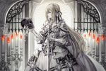 1girl armor black_bow blonde_hair bow braid candle cape dress gauntlets holding holding_skull holding_sword holding_weapon long_hair original senano-yu skull solo sword vambraces weapon white_bow white_cape white_dress yellow_eyes