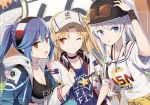 3girls alternate_costume azur_lane bangs baseball_cap black_choker blonde_hair blue_hair blush breasts choker cleveland_(azur_lane) cleveland_(road_trip!)_(azur_lane) clothes_around_waist clothes_writing collarbone day enterprise_(anniversary_ride)_(azur_lane) enterprise_(azur_lane) essex_(a_trip_down_route_66)_(azur_lane) essex_(azur_lane) eyebrows_visible_through_hair eyewear_on_headwear gochou_(atemonai_heya) grin hat headband headphones headphones_around_neck hood hood_down jacket jacket_around_waist large_breasts locked_arms long_hair long_sleeves looking_at_viewer multiple_girls off-shoulder_shirt off_shoulder official_art one_eye_closed one_side_up open_clothes outdoors red_eyes shirt sidelocks silver_hair smile star sunglasses sweatdrop tinted_eyewear viewfinder violet_eyes
