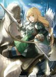 1girl blonde_hair boots braid breastplate clouds feathers fire_emblem fire_emblem:_three_houses fire_emblem_cipher gloves green_eyes ingrid_brandol_galatea long_hair official_art open_mouth pegasus pegasus_knight polearm single_braid sitting sky solo spear thigh-highs weapon