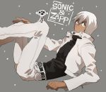 1boy animal belt black_shirt character_name closed_mouth collar dark_skin grey_background hand_on_own_knee housui_(g3hopes) jacket kekkai_sensen looking_up lying monkey pants shirt short_hair solo sonic_(kekkai_sensen) star white_hair white_jacket white_pants zap_renfro