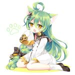 1girl ahoge akashi_(azur_lane) animal_ear_fluff animal_ears azur_lane bangs bell black_bow black_footwear black_sailor_collar blush bow braid brown_eyes cat_ears chestnut_mouth colored_shadow commentary_request dress eyebrows_visible_through_hair fang full_body green_hair hair_between_eyes hair_bow hair_ornament hand_up jingle_bell loafers long_hair long_sleeves looking_at_viewer open_mouth sailor_collar sailor_dress shadow shikito shoes sitting sleeves_past_fingers sleeves_past_wrists socks solo very_long_hair wariza white_background white_dress white_legwear