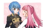 2girls blue_hair braid brown_eyes closed_eyes crown_braid epaulettes fire_emblem fire_emblem:_three_houses garreg_mach_monastery_uniform heart hilda_valentine_goneril long_hair marianne_von_edmund multiple_girls open_mouth parted_lips pink_background pink_hair simple_background twintails uniform upper_body yutohiroya