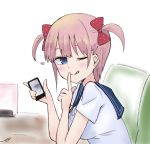 1girl ;q blue_eyes blue_sailor_collar blush bow breasts cellphone closed_mouth commentary_request copyright_request hair_bow heart holding holding_cellphone holding_phone kujou_karasuma medium_breasts one_eye_closed phone pink_hair polka_dot polka_dot_bow red_bow sailor_collar school_uniform serafuku shirt short_sleeves sidelocks signature smile solo table tongue tongue_out two_side_up upper_body white_background white_shirt