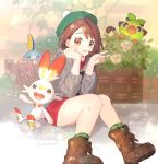 1girl ankea_(a-ramo-do) artist_name bangs black_eyes blue_eyes blush boots brown_eyes brown_footwear brown_hair bush chin_rest closed_mouth dress female_protagonist_(pokemon_swsh) flat_chest flower full_body gen_8_pokemon green_headwear green_legwear grey_cardigan grookey hands_up happy highres knees_together_feet_apart light_blush long_sleeves looking_at_viewer open_mouth orange_eyes pink_dress plaid plaid_legwear pokemon pokemon_(creature) pokemon_(game) pokemon_swsh rose scorbunny shiny shiny_hair short_hair sitting smile sobble socks twitter_username v water white_flower white_rose