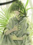 1boy alternate_hair_length alternate_hairstyle androgynous bangs blurry closed_mouth depth_of_field enkidu_(fate/strange_fake) fate/strange_fake fate_(series) grabbing green_eyes green_hair green_theme hair_strand hair_vines long_sleeves looking_at_viewer mizutame_tori palm_leaf plant robe short_hair smile solo upper_body vines