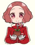 1girl brown_hair closed_mouth do_m_kaeru flower gloves holding jacket long_sleeves looking_at_viewer okumura_haru persona persona_5 pink_eyes pink_flower plant potted_plant red_jacket short_hair simple_background smile solo track_jacket twitter_username upper_body white_gloves