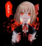 1girl :d blonde_hair blood bloody_hands censored censored_text commentary dark_background darkness hair_ribbon highres kky looking_at_viewer mosaic_censoring neck_ribbon open_mouth red_eyes red_ribbon ribbon rumia sharp_teeth short_hair smile solo teeth touhou twitter_username upper_body