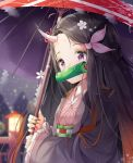 1girl bamboo bit_gag black_hair brown_hair commentary_request forehead gag hair_ribbon highres holding holding_umbrella horn japanese_clothes kamado_nezuko kimetsu_no_yaiba kimono long_hair long_sleeves looking_at_viewer mouth_hold multicolored_hair pedo0201 pink_eyes pink_kimono pink_ribbon red_nails ribbon solo two-tone_hair umbrella