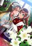 2girls :d apron blue_bow blue_skirt blurry blurry_background blurry_foreground blush bow braid brown_hair closed_mouth coffee coffee_pot commentary_request cup depth_of_field door dutch_angle eye_contact floral_print flower frilled_apron frills gloves green_eyes grey_eyes hair_bow holding japanese_clothes jintsuu_(kantai_collection) kantai_collection kimono koruri long_hair long_sleeves looking_at_another maid_headdress multiple_girls noshiro_(kantai_collection) open_clothes open_mouth pleated_skirt print_kimono profile red_kimono saucer skirt smile sweat twitter_username very_long_hair white_apron white_flower white_gloves white_kimono wide_sleeves