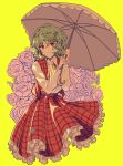 1girl ascot closed_mouth collared_shirt dress_shirt eyebrows_visible_through_hair flower frilled_skirt frills green_hair highres holding holding_umbrella kazami_yuuka long_sleeves looking_at_viewer no_legs open_clothes open_vest parasol plaid plaid_skirt plaid_vest puffy_long_sleeves puffy_sleeves red_eyes red_skirt red_vest rose shirt short_hair skirt skirt_set smile solo touhou umbrella uranaishi_(miraura) vest wavy_hair white_shirt wing_collar yellow_background yellow_neckwear