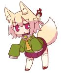 1girl :o animal_ear_fluff animal_ears bangs bell bell_collar blonde_hair blush brown_collar brown_footwear collar commentary_request eyebrows_visible_through_hair fox_ears fox_girl fox_tail full_body green_shirt hair_between_eyes hair_bun hair_ornament highres jingle_bell kemomimi-chan_(naga_u) long_hair long_sleeves looking_at_viewer naga_u orange_neckwear original parted_lips pleated_skirt purple_skirt red_eyes ribbon-trimmed_legwear ribbon_trim shirt sidelocks simple_background skirt sleeves_past_fingers sleeves_past_wrists solo tail thigh-highs white_background white_legwear