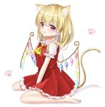 1girl :3 alternate_hairstyle animal_ear_fluff animal_ears arm_up barefoot between_legs blonde_hair blush cat_ears cat_tail commentary_request cravat eyebrows_visible_through_hair flandre_scarlet frilled_shirt_collar frilled_skirt frilled_sleeves frills hair_between_eyes hand_between_legs head_tilt highres kemonomimi_mode looking_at_viewer medium_hair no_headwear nyanyanoruru open_mouth paw_background paw_pose puffy_short_sleeves puffy_sleeves red_eyes red_skirt red_vest shirt short_sleeves sitting skirt solo tail touhou vest wariza white_background white_shirt wings yellow_neckwear