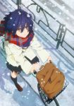 1girl 22/7 absurdres backpack bag bicycle black_legwear black_skirt blue_hair brown_eyes brown_footwear duffel_coat from_above full_body ground_vehicle hair_between_eyes highres kneehighs loafers looking_up official_art pleated_skirt scarf shoes skirt snowing solo takigawa_miu white_coat