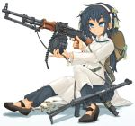 1girl ajirogasa ammunition_belt bag black_footwear black_hair black_pants blue_eyes bracelet brown_headwear bullet_casing carrying closed_mouth commentary_request dress full_body gun hair_ornament hairband hat high_collar highres holding holding_gun holding_weapon jewelry long_sleeves machine_gun medium_dress mikeran_(mikelan) original pants partial_commentary rpd sandals satchel shadow simple_background sitting smile solo submachine_gun vietnamese_dress weapon white_background white_dress white_hairband