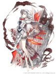 1girl bare_shoulders barefoot blood bloody_clothes book bookmark breasts flower full_body grey_eyes hood hood_up ji_no looking_at_viewer medium_breasts official_art pelvic_curtain plantar_flexion rose serious shoulder_cutout silver_trim sinoalice smoke snow_white_(sinoalice) solo square_enix thigh_strap white_background white_hair wide_sleeves