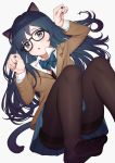 1girl absurdres animal_ears ass black-framed_eyewear black_bra black_hair black_nails blazer blue_eyes blue_neckwear blue_skirt bow bowtie bra bra_peek brown_jacket brown_legwear cat_ears cat_girl cat_tail collared_shirt convenient_leg feet glasses hands_up highres jacket long_hair long_sleeves looking_at_viewer miniskirt nail_polish no_shoes original pantyhose parted_lips pleated_skirt school_uniform shirt simple_background skirt solo tail thighband_pantyhose undershirt underwear white_background white_shirt wing_collar yoshihiro_(yoshihiro12190)